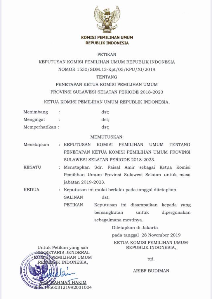 Salinan surat keputusan KPU RI