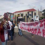 Massa aksi Demo Pospera Sulsel berunjuk rasa di depan Kantor BPN Makassar (Foto: syukur)