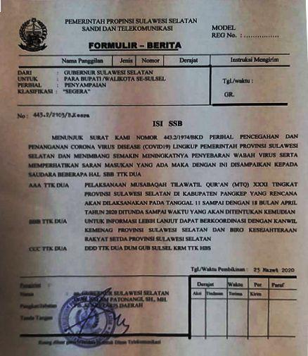 Surat pemberitahuan penundaan MTQ XXXl tingkat Provinsi Sulsel di Pangkep