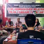 Aliansi Selamatkan Pesisir (APS) bersama nelayan kepulauan Sangkarrang mengadakan konferensi pers menyikapi persoalan kriminalisasi nelayan kepulauan Sangkarang, Selasa, (4/8/2020).
