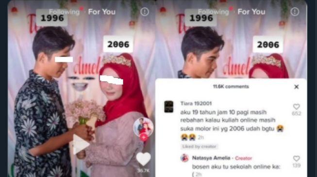 Gadis 14 Tahun Menikah Muda Gegara Bosan Sekolah Daring (Twitter/@tubirfess/suara).